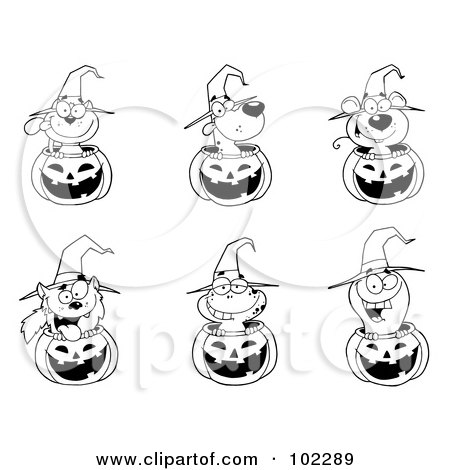 Royalty-Free (RF) Clipart Illustration of Outlines Of Animals In Halloween Pumpkins by Hit Toon