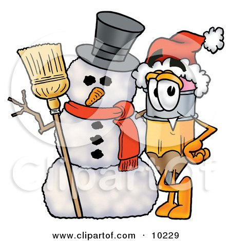 Clipart Picture of a Pencil Mascot Cartoon Character With a Snowman on Christmas by Toons4Biz