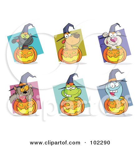 Royalty-Free (RF) Clipart Illustration of a Digital Collage Of Happy Animals And Jack O Lanterns by Hit Toon