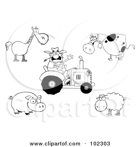 Royalty-Free (RF) Clipart Illustration of a Digital Collage Of An Outlined Farmer On A Tractor, With A Horse, Cow, Pig And Sheep by Hit Toon