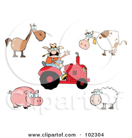 Royalty-Free (RF) Clipart Illustration of a Digital Collage Of A Caucasian Farmer On A Tractor, With A Horse, Cow, Pig And Sheep by Hit Toon