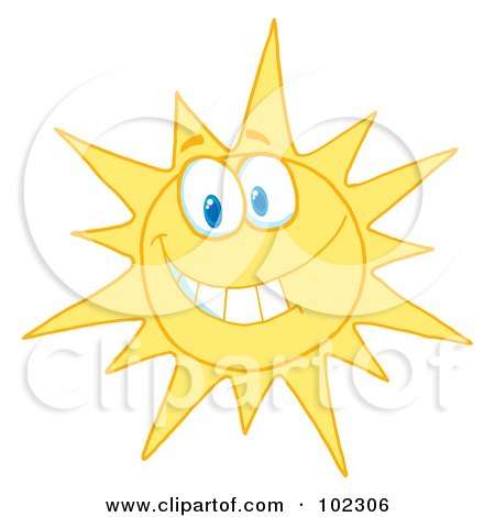 Royalty-Free (RF) Clipart Illustration of a Sunny Face Smiling by Hit Toon