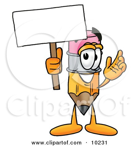 Clipart Picture of a Pencil Mascot Cartoon Character Holding a Blank Sign by Toons4Biz
