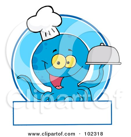 Royalty-Free (RF) Clipart Illustration of a Blue Octopus Chef Logo by Hit Toon