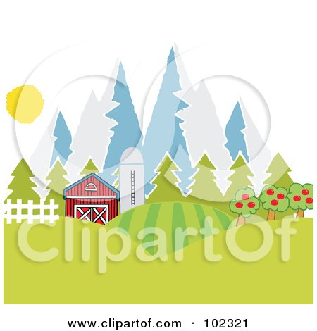 Royalty-Free (RF) Clipart Illustration of a Barn And Silo With Fields Near Mountains by Hit Toon