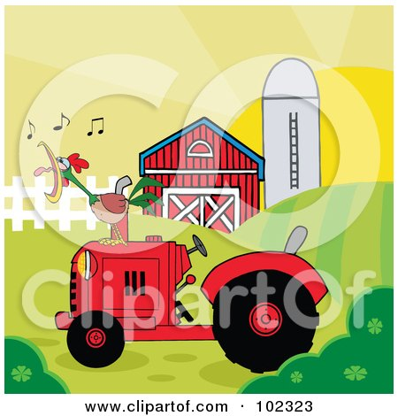 Royalty-Free (RF) Clipart Illustration of a Rooster Crowing On A Tractor Near A Barn by Hit Toon