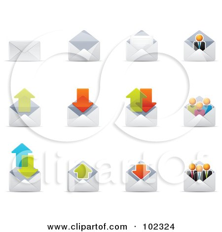 R oyalty-Free (RF) Clipart Illustration of a Digital Collage Of Envelope Email Icons by Qiun