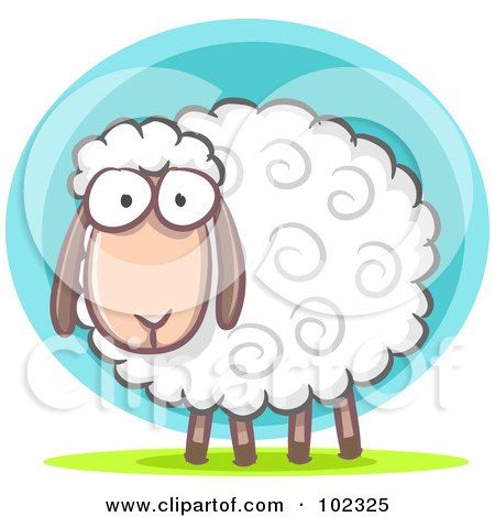 R oyalty-Free (RF) Clipart Illustration of a Furry White Lamb by Qiun