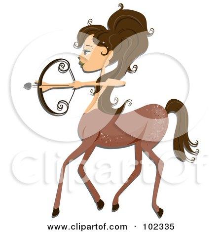 Royalty-Free (RF) Clipart Illustration of a Beautiful Sagittarius Zodiac Woman Centaur by BNP Design Studio