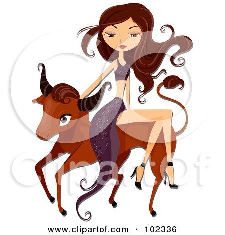 Beautiful Aquarius Taurus Woman Riding a Bull Posters, Art Prints