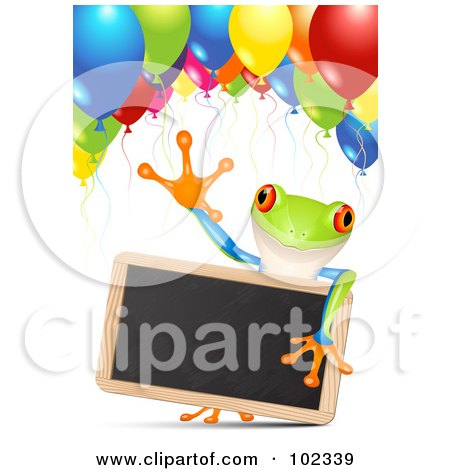 Royalty-Free (RF) Clipart Illustration of an Adorable Poison Dart Frog Holding A Chalk Board Under Party Balloons by Oligo
