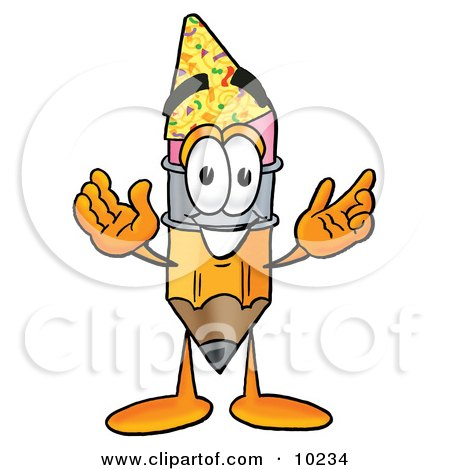 Clipart Picture of a Pencil Mascot Cartoon Character Wearing a Birthday Party Hat by Toons4Biz