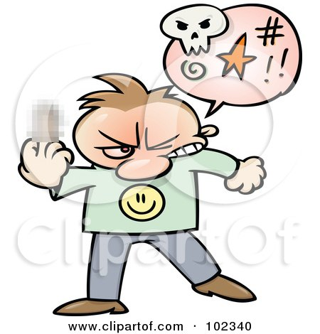 Royalty-Free (RF) Clipart Illustration of an Angry Toon Guy Cursing And Holding Up His Middle Finger With A Blurred Spot by gnurf