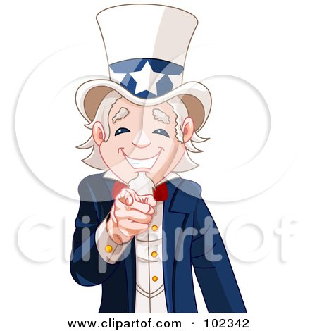 Royalty-Free (RF) Clipart Illustration of a Friendly Uncle Sam Smiling And Pointing Out by Pushkin
