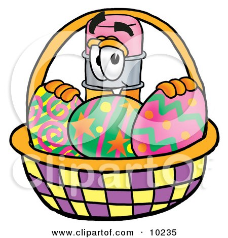 Clipart Picture of a Pencil Mascot Cartoon Character in an Easter Basket Full of Decorated Easter Eggs by Toons4Biz