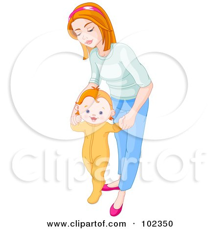 Royalty-Free (RF) Clipart Illustration of a Mother Bending Over And Helping Her Baby Take His First Steps by Pushkin