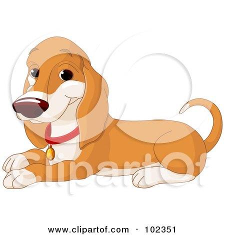 Royalty-Free (RF) Clipart Illustration of a Happy Basset Hound Dog Sitting by Pushkin