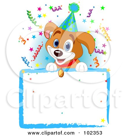Royalty-Free (RF) Clipart Illustration of an Adorable Beagle Puppy Wearing A Party Hat, Looking Over A Blank Sign With Colorful Confetti by Pushkin