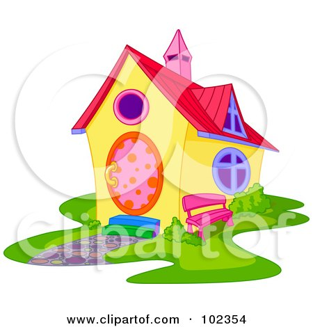 Royalty-Free (RF) Clipart Illustration of a Yellow House With Colorful Accents by Pushkin