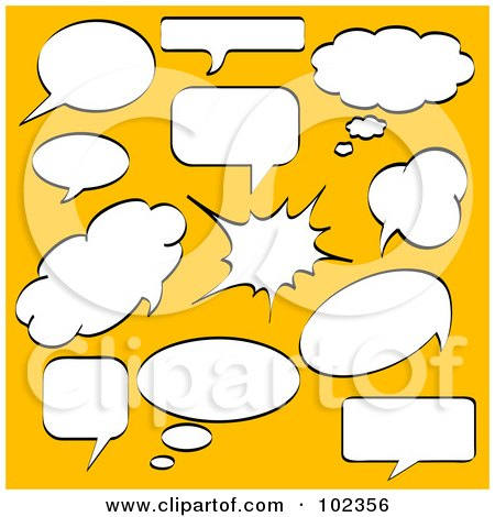 Royalty-Free (RF) Clipart Illustration of a Digital Collage Of Chat, Thought And Word Balloons by Pushkin