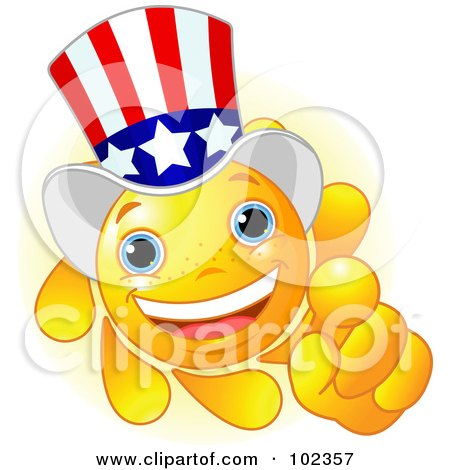 Royalty-Free (RF) Clipart Illustration of a Sun Face Uncle Sam Pointing by Pushkin