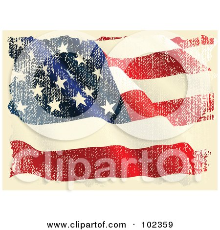 Royalty-Free (RF) Clipart Illustration of a Grungy Aged Waving American Flag by Pushkin