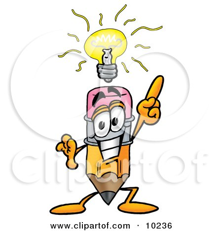 Clipart Picture of a Pencil Mascot Cartoon Character With a Bright Idea by Toons4Biz