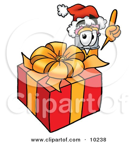 Clipart Picture of a Pencil Mascot Cartoon Character Standing by a Christmas Present by Toons4Biz