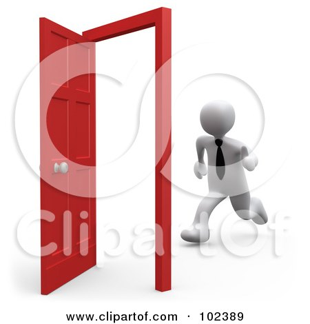 Royalty-Free (RF) Clipart Illustration of a 3d White Person Businessman Running Towards An Open Opportunity Door by 3poD