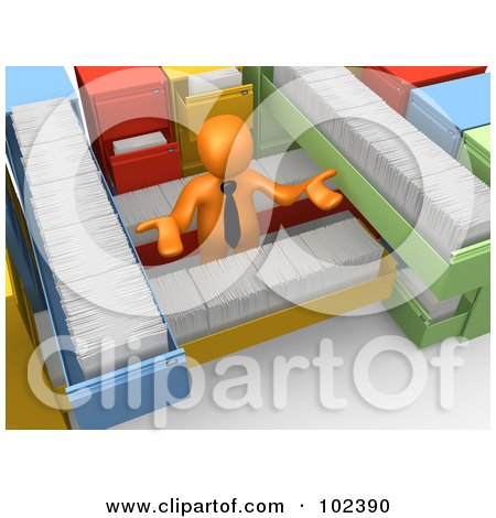 R oyalty-Free (RF) Clipart Illustration of a 3d Orange Person Shrugging And Surrounded By Long Filing Cabinet Drawers by 3poD