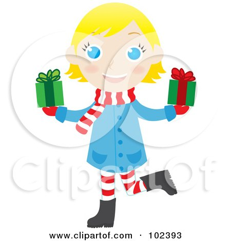 Royalty-Free (RF) Clipart Illustration of a Blond Caucasian Christmas Girl Holding Presents by Rosie Piter