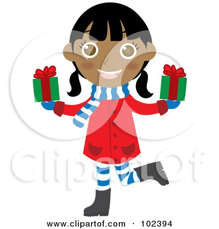 Royalty-Free (RF) Clipart Illustration of an Indian Christmas Girl Holding Presents by Rosie Piter