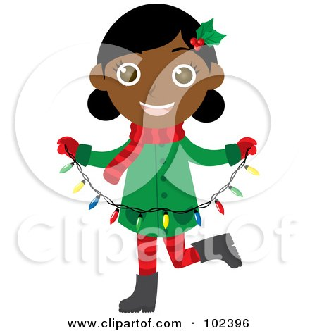 Royalty-Free (RF) Clipart Illustration of an Indian Christmas Girl Holding A Strand Of Christmas Lights by Rosie Piter