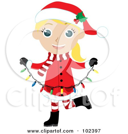Royalty-Free (RF) Clipart Illustration of a Blond Girl In A Christmas Suit, Carrying Christmas Lights by Rosie Piter