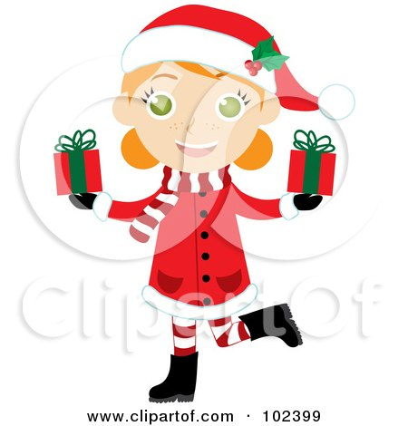 Royalty-Free (RF) Clipart Illustration of an Irish Christmas Girl In A Red Coat, Carrying Presents by Rosie Piter