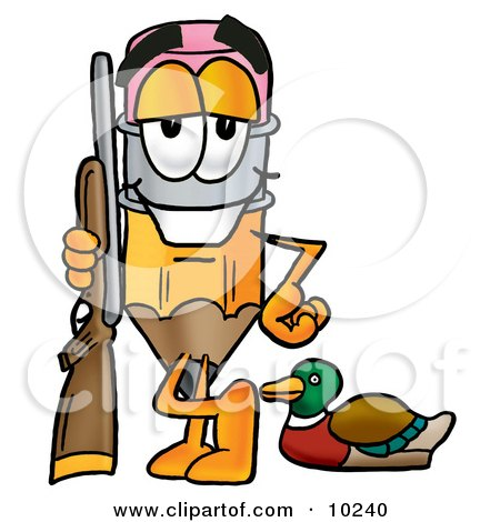 Clipart Picture of a Pencil Mascot Cartoon Character Duck Hunting, Standing With a Rifle and Duck by Toons4Biz