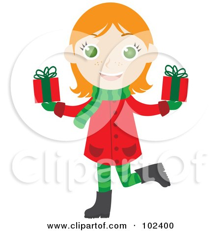 Royalty-Free (RF) Clipart Illustration of an Irish Christmas Girl Holding Presents by Rosie Piter