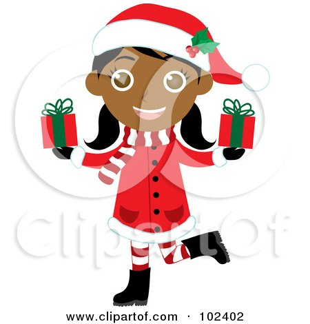 Royalty-Free (RF) Clipart Illustration of an Indian Christmas Girl In A Red Coat, Carrying Presents by Rosie Piter