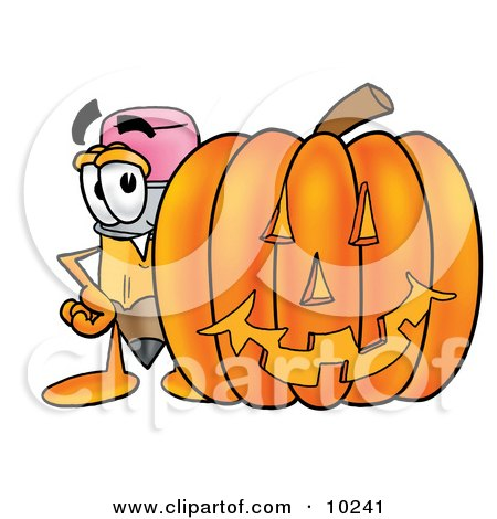 Clipart Picture of a Pencil Mascot Cartoon Character With a Carved Halloween Pumpkin by Toons4Biz