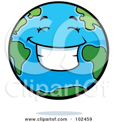Royalty-Free (RF) Clipart Illustration of a Smiling Happy Earth by Cory Thoman