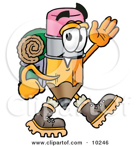 Clipart Picture of a Pencil Mascot Cartoon Character Hiking and Carrying a Backpack by Toons4Biz