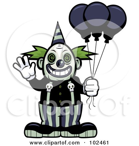 Royalty-Free (RF) Clipart Illustration of a Scary Clown Waving And Holding Balloons by Cory Thoman