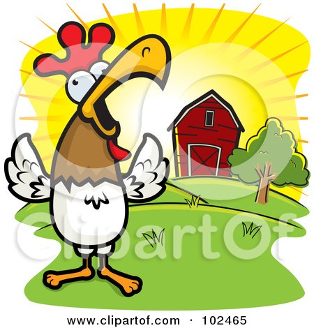 Royalty-Free (RF) Clipart Illustration of a Happy Rooster Crowing Loudly By A Farm At Sunrise by Cory Thoman