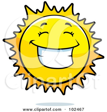 Royalty-Free (RF) Clipart Illustration of a Happy Grinning Sun by Cory Thoman