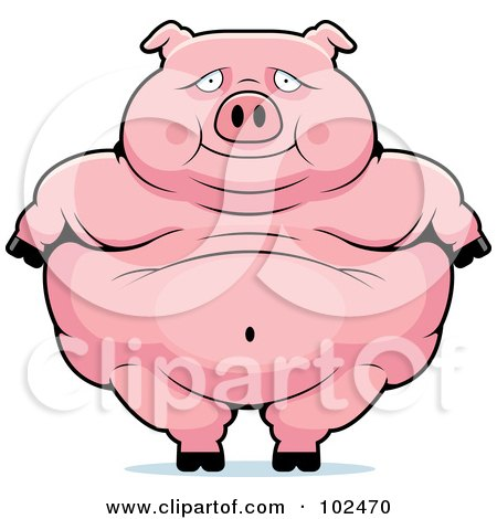 Royalty-Free (RF) Clipart Illustration of an Obese Pig Standing by Cory Thoman