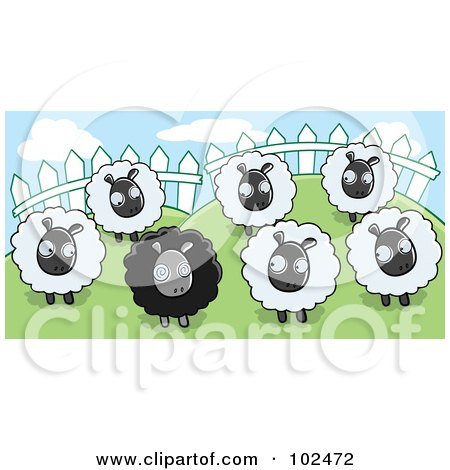 Royalty-Free (RF) Clipart Illustration of a Group Of White Sheep Looking At A Black Sheep In A Pasture by Cory Thoman