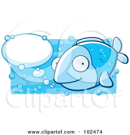 Happy Blue Fish With Talk Bubbles Posters, Art Prints