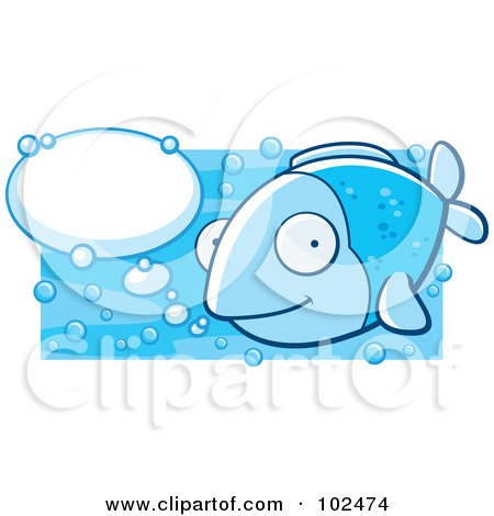 Royalty-Free (RF) Clipart Illustration of a Happy Blue Fish With Talk Bubbles by Cory Thoman