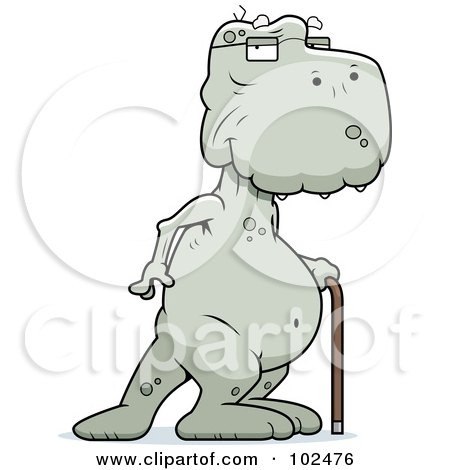 Royalty-Free (RF) Clipart Illustration of an Old Dinosaur Using A Cane by Cory Thoman