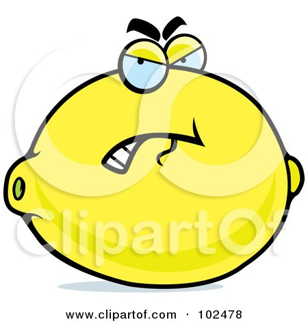 Royalty-Free (RF) Clipart Illustration of a Grouchy Lemon by Cory Thoman